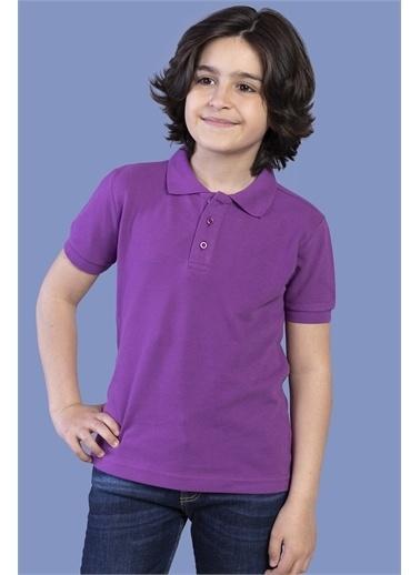 Toontoy Kids Toontoy Erkek Çocuk Düğmeli Polo Yaka Tişört Mor